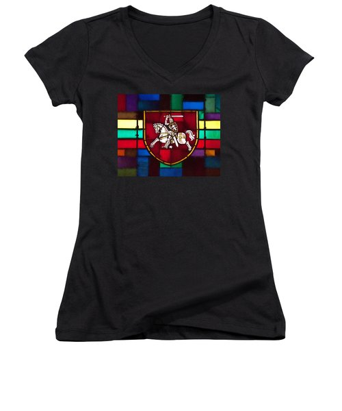 Lithuania Coat Of Arms Women's V-Neck T-Shirt (Junior Cut)
