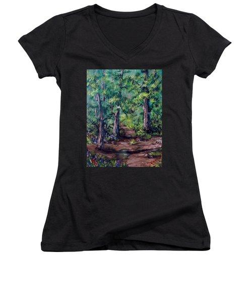 Little Clearing Women's V-Neck T-Shirt (Junior Cut) by Megan Walsh
