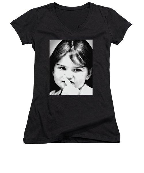 Little Emma Women's V-Neck T-Shirt (Junior Cut) by Rena Trepanier