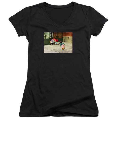 Little Girl On The Streets Of Lima, Peru Women's V-Neck (Athletic Fit)