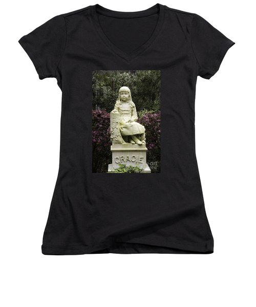 Little Gracie Bonaventure Cemetery Women's V-Neck T-Shirt (Junior Cut) by Jeannette Hunt