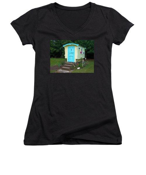 Little Gypsy Wagon II Women's V-Neck T-Shirt (Junior Cut) by Judy Johnson