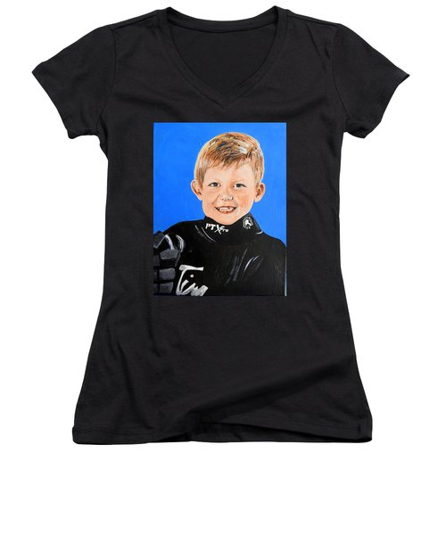 Women's V-Neck T-Shirt (Junior Cut) featuring the painting Little Mister G by Betty-Anne McDonald