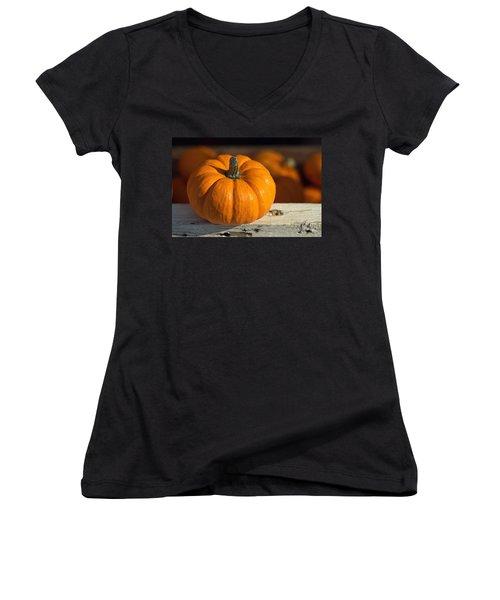 Little Pumpkin Women's V-Neck T-Shirt (Junior Cut) by Joseph Skompski