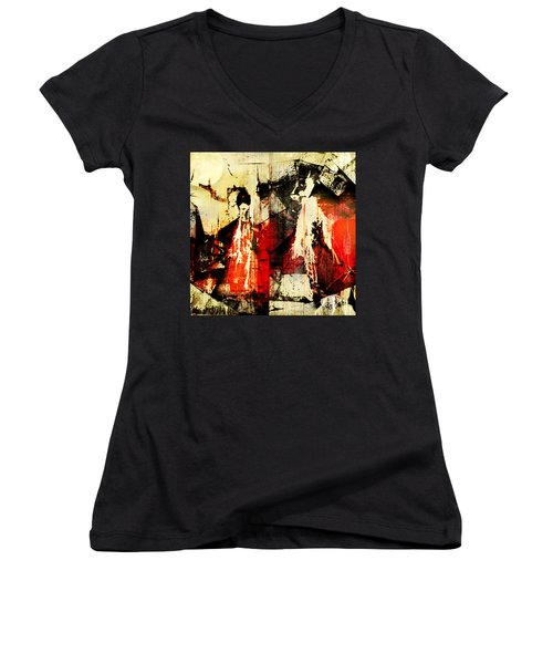 Little Red Riding Hood And The Big Bad Wolf Under A Yellow Moon Women's V-Neck T-Shirt (Junior Cut) by Jeff Burgess