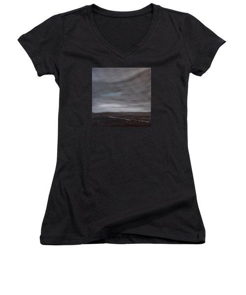 Little Woman In Large Landscape Women's V-Neck T-Shirt
