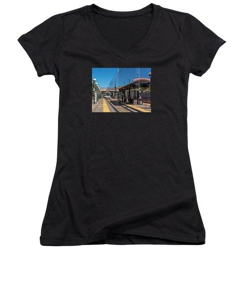 Littleton Rtd Light Rail Station Women's V-Neck T-Shirt (Junior Cut) by Stephen  Johnson