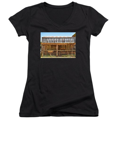 Livery Stable Women's V-Neck T-Shirt (Junior Cut) by Ray Shrewsberry
