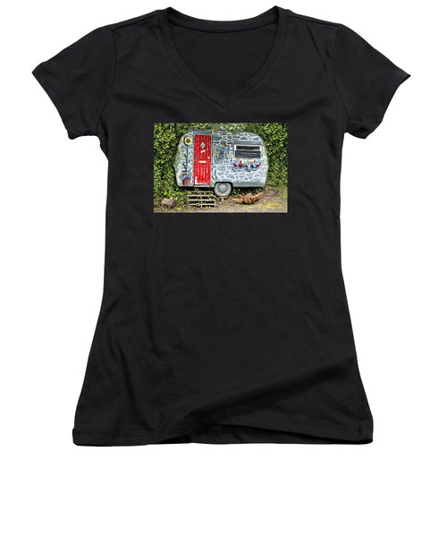 Living In Art Women's V-Neck T-Shirt (Junior Cut) by Meirion Matthias