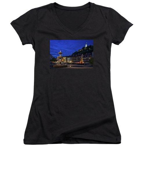 Women's V-Neck T-Shirt featuring the photograph Ljubljana Night Scene #2 - Slovenia by Stuart Litoff