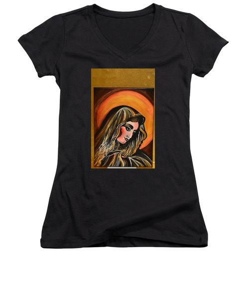 Women's V-Neck T-Shirt (Junior Cut) featuring the painting lLady of sorrows by Sandro Ramani
