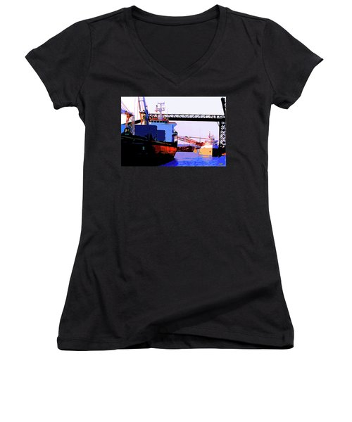 Loading The Iron Ore On The Great Lakes Freighters Women's V-Neck T-Shirt