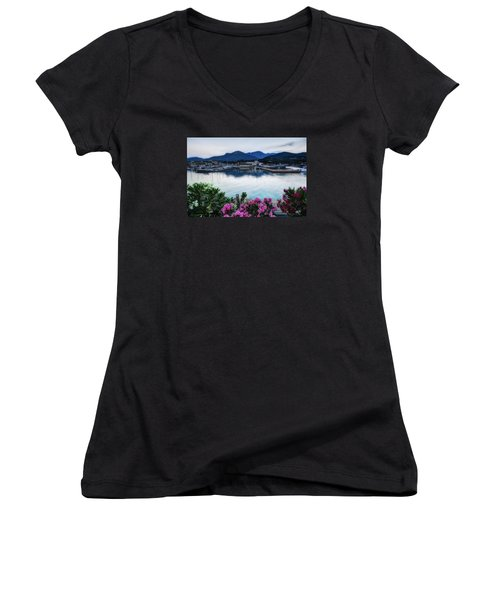 Loano Sunset Over Sea And Mountains With Flowers Women's V-Neck