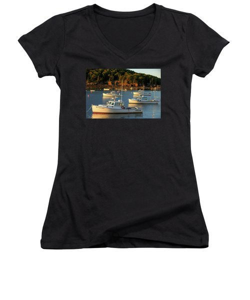 Women's V-Neck T-Shirt (Junior Cut) featuring the photograph Lobster Boats At Bar Harbor Me  by Emmanuel Panagiotakis