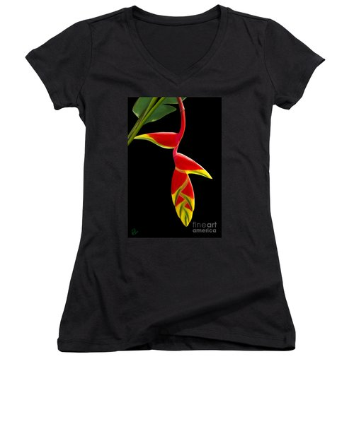 Women's V-Neck T-Shirt (Junior Cut) featuring the painting Lobster Claw by Rand Herron
