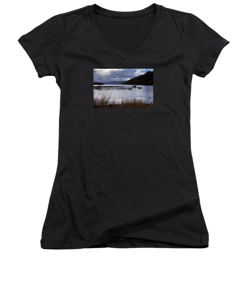 Women's V-Neck T-Shirt (Junior Cut) featuring the photograph Loch Lomond by Jeremy Lavender Photography