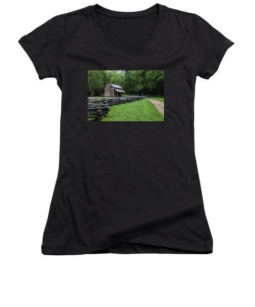 Log Cabin Women's V-Neck T-Shirt (Junior Cut) by David Cote