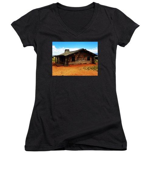 Log Cabin Yr 1800 Women's V-Neck T-Shirt (Junior Cut) by Joseph Frank Baraba