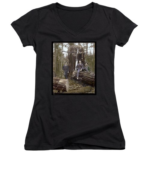 Women's V-Neck T-Shirt (Junior Cut) featuring the photograph Loggers Sunday Best 1911 by Martin Konopacki Restoration
