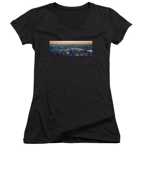 London At Sunset Women's V-Neck (Athletic Fit)