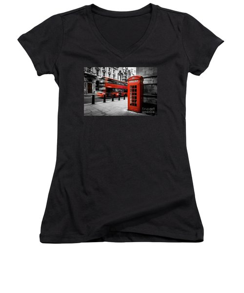 London Bus And Telephone Box In Red Women's V-Neck