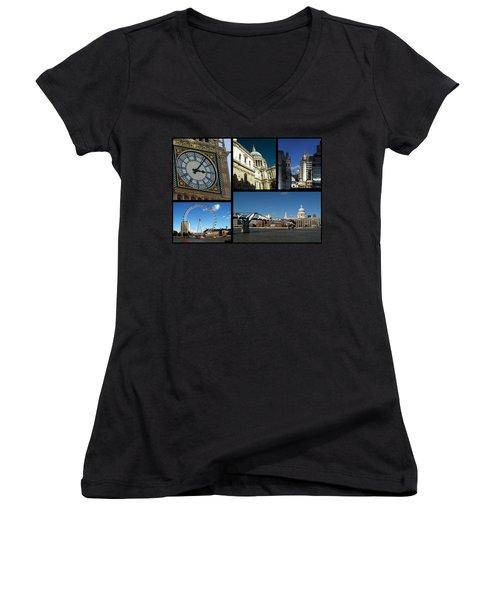London Collage Women's V-Neck T-Shirt