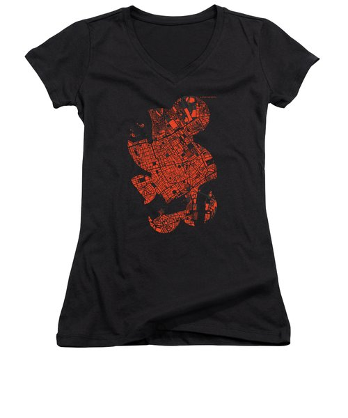 London Engraving Map Women's V-Neck T-Shirt