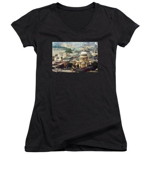 London Rooftops Women's V-Neck T-Shirt (Junior Cut) by Judi Saunders