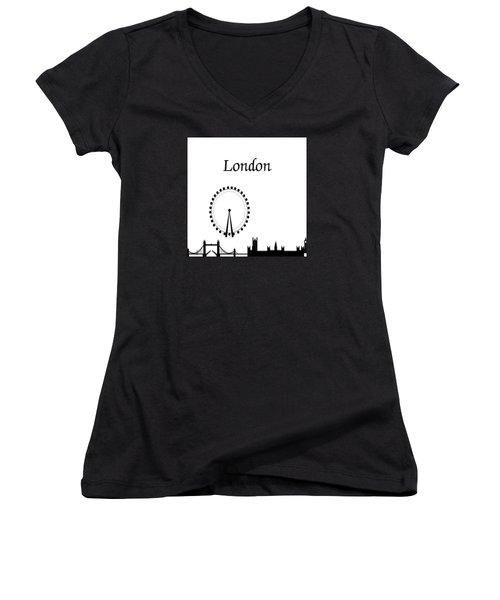 London Skyline Outline Women's V-Neck (Athletic Fit)