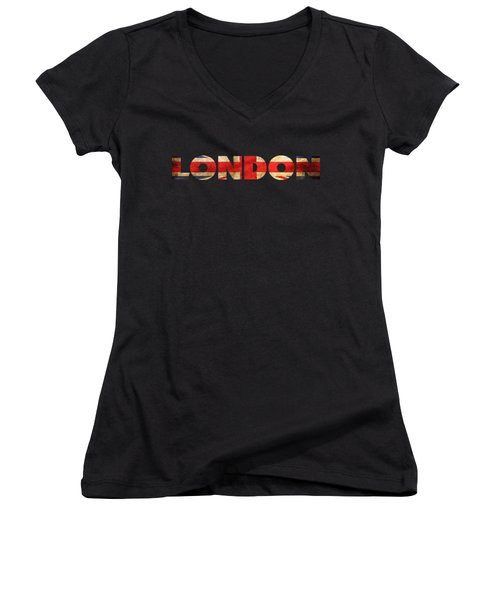 London Vintage British Flag Tee Women's V-Neck (Athletic Fit)