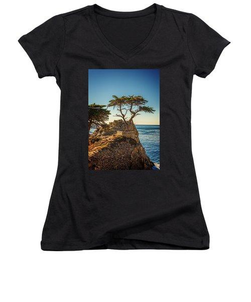 Lone Cypress Tree Women's V-Neck T-Shirt (Junior Cut) by James Hammond