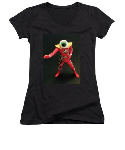 Lone Eye Ranger Women's V-Neck T-Shirt (Junior Cut) by Douglas Fromm