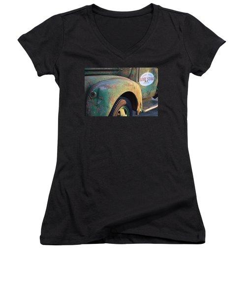 Women's V-Neck T-Shirt (Junior Cut) featuring the photograph Lone Star Memories  by Carolina Liechtenstein