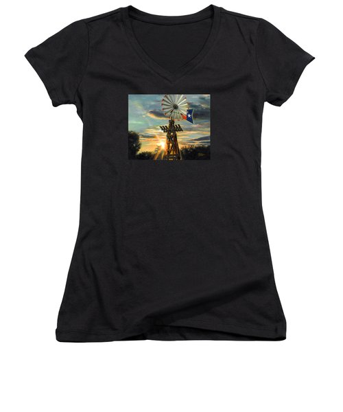 Women's V-Neck T-Shirt (Junior Cut) featuring the painting Lone Star Sky by Doug Kreuger