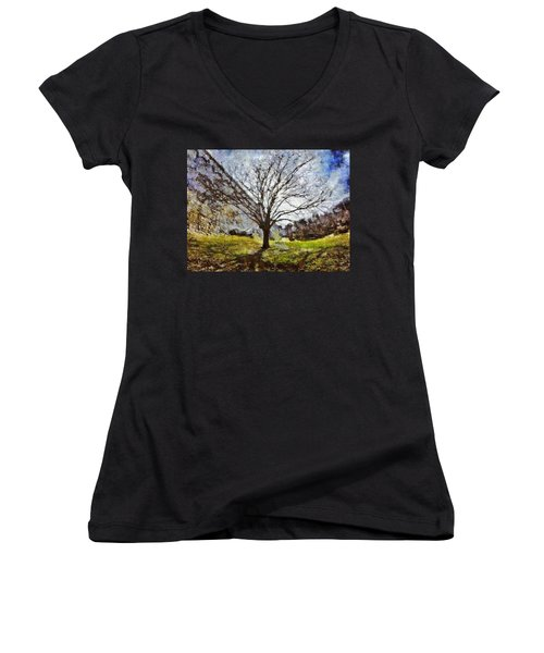 Women's V-Neck T-Shirt featuring the painting Lonely Tree by Derek Gedney