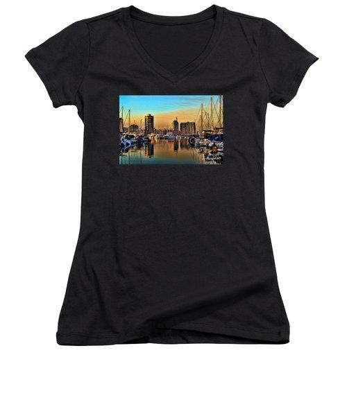 Women's V-Neck T-Shirt (Junior Cut) featuring the photograph Long Beach Harbor by Mariola Bitner