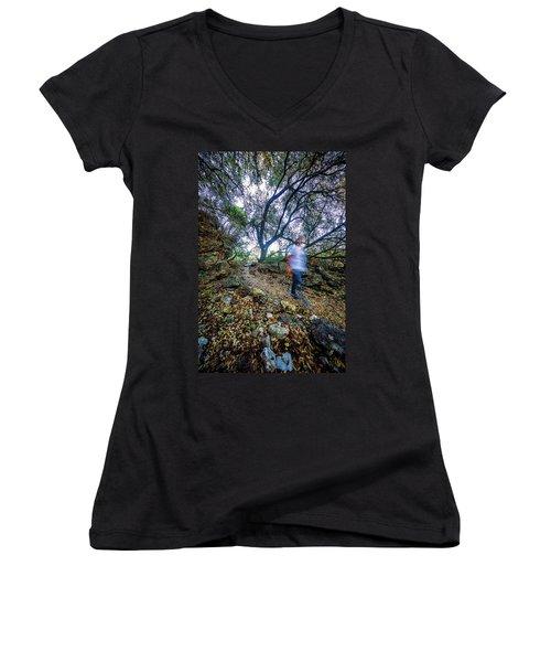 Long Exposure Peddernales Falls State Park Hike Women's V-Neck T-Shirt (Junior Cut) by Micah Goff