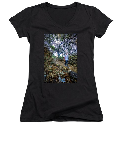 Long Exposure Peddernales Falls State Park Hike Women's V-Neck T-Shirt (Junior Cut)