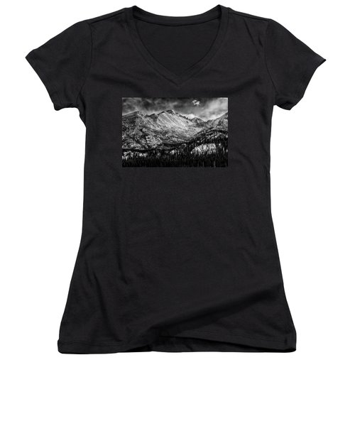 Longs Peak Rocky Mountain National Park Black And White Women's V-Neck (Athletic Fit)