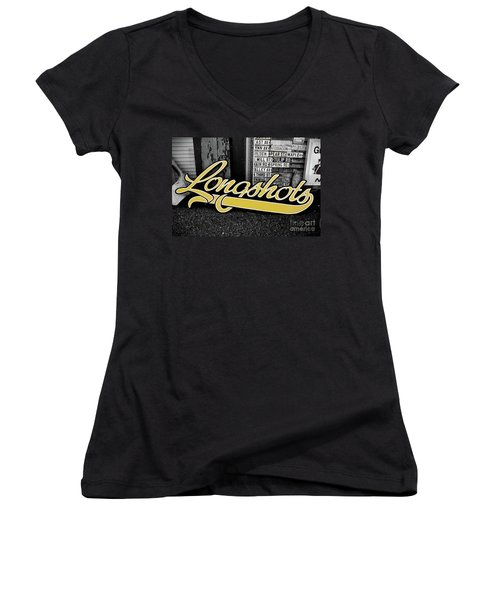Women's V-Neck T-Shirt (Junior Cut) featuring the photograph Longshots - Sign by Colleen Kammerer