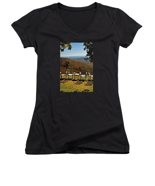 Relax And Enjoy Women's V-Neck T-Shirt (Junior Cut) by Kay Lovingood