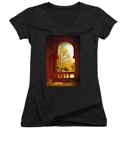 Women's V-Neck T-Shirt (Junior Cut) featuring the digital art Lookin Out by Holly Ethan