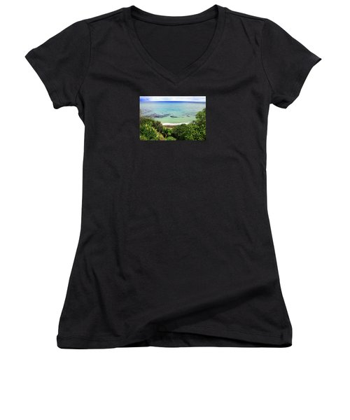 Women's V-Neck T-Shirt featuring the photograph Looking Down To The Beach by Nareeta Martin
