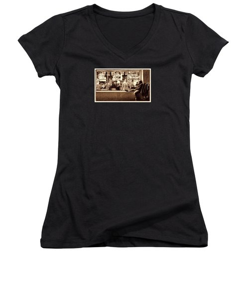 Women's V-Neck T-Shirt (Junior Cut) featuring the photograph Looking In by Steve Siri