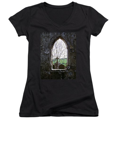 Looking Out Fuerty Church Roscommon Ireland Women's V-Neck