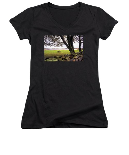 Looking Over The Wall Women's V-Neck