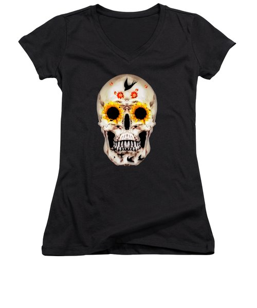 Looking Through Sunflowers Women's V-Neck (Athletic Fit)