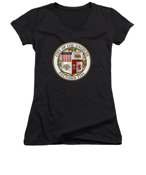 Los Angeles City Seal Over Black Velvet Women's V-Neck T-Shirt (Junior Cut) by Serge Averbukh