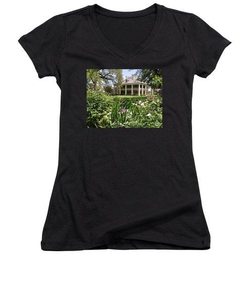 Louisiana April Women's V-Neck T-Shirt (Junior Cut) by Helen Haw