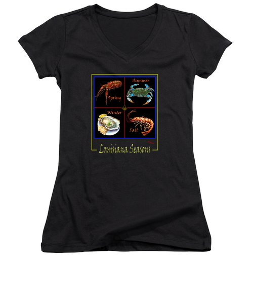 Louisiana Seasons Women's V-Neck T-Shirt (Junior Cut) by Dianne Parks